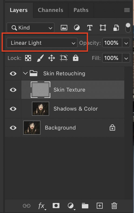 Screenshot of Linear Light highlighted in Photoshop layers panel