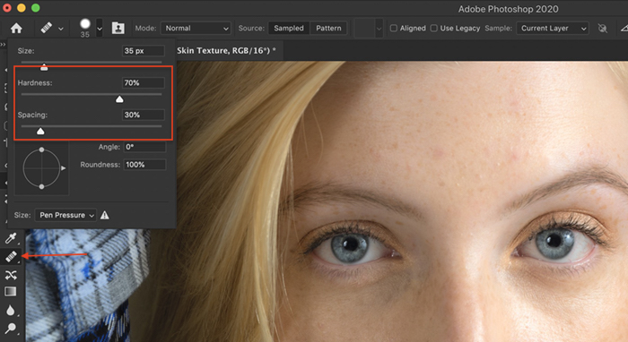 A screenshot of selecting a healing brush in Photoshop