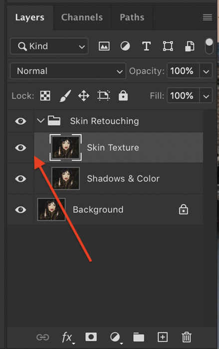 Screenshot of turning on and selecting high-frequency layer in Photoshop layers panel