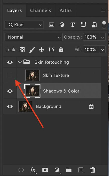 A screenshot of selecting the low-frequency layer in Photoshop layers panel
