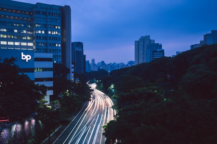 Blue hour photography of a busy highway