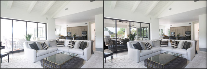 Diptych interior photography before and after HDR editing