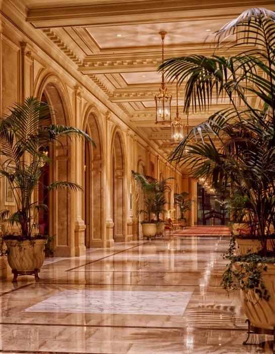 Interior of a stylish hotel lobby