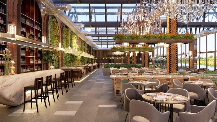 Interior of a lavish hotel dining room