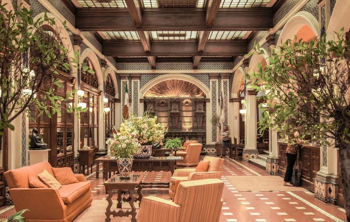 Interior of a lavish hotel lobby