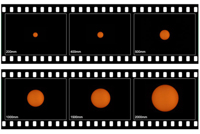 film strips with photos of the sun