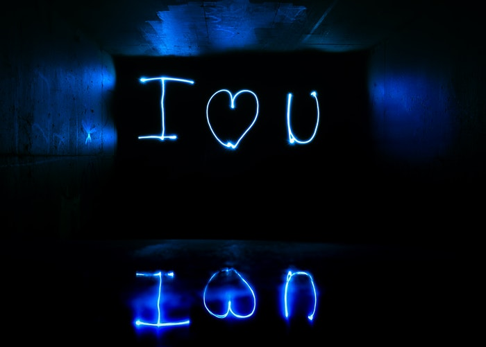 'I love you' spelled out in light graffiti