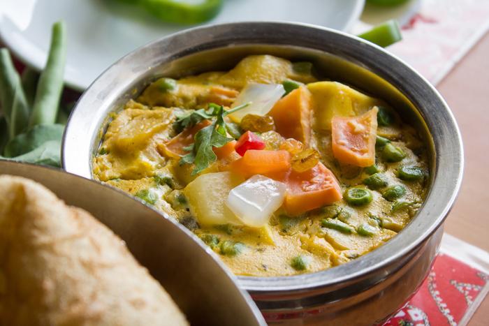 Close up shot of Indian food