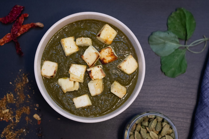 Flat lay Indian food photography of a Paneer curry