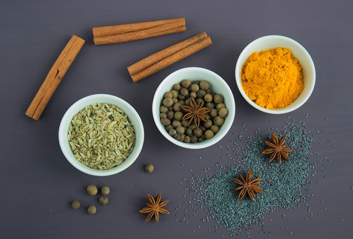 Spices used for Indian food photography