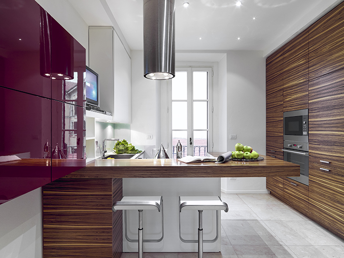 Real estate photograph of a modern kitchen.