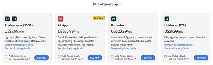 Screenshot of Adobe purchasing options