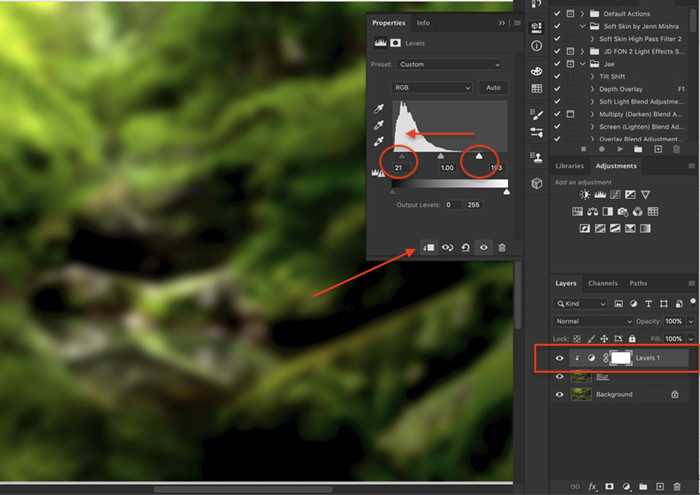 Screenshot of creating the orton effect in Photoshop