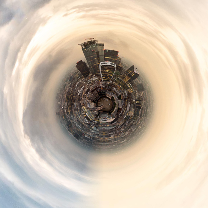 Tiny London skyline created with Tiny Planets app