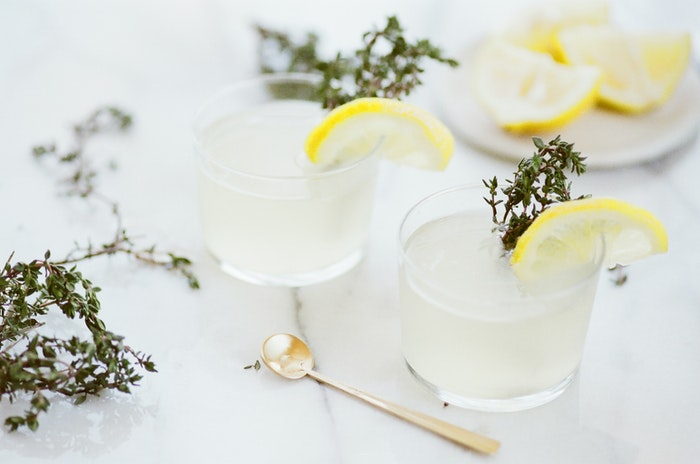 glasses of ice water with lemon