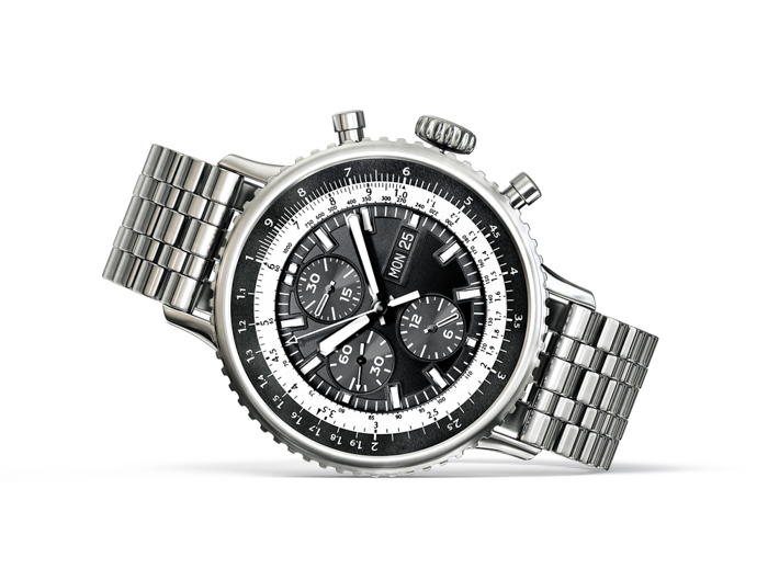A silver watch for men on a white background.