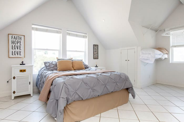 Bright and airy interior photography shot of a bedroom