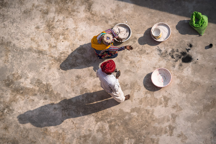 Looking down on Indian workers at Hawa Mahal in Jaipur. Final after shadows removed. Photo by Jenn Mishra
