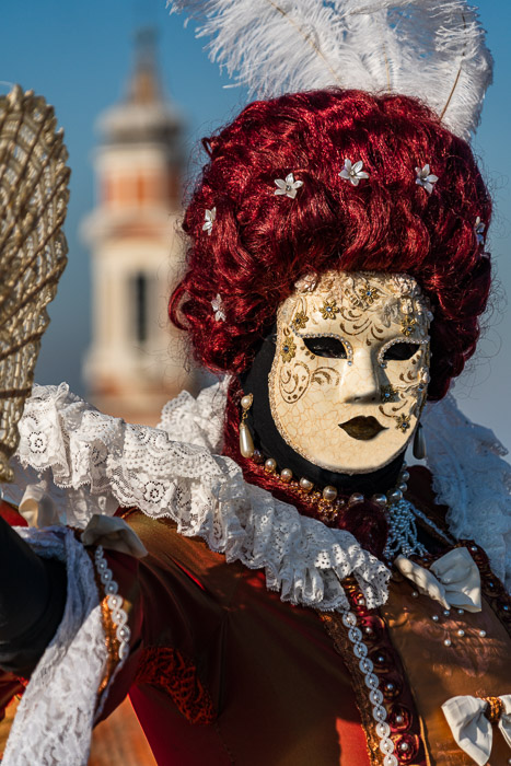 A masked model in Venice.