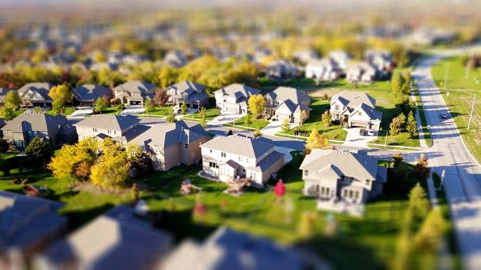 Aerial tilt shift photo of a housing estate