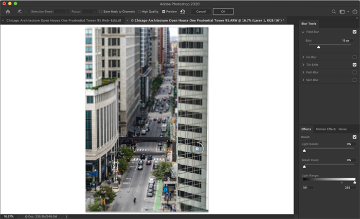Screenshot of Photoshop workspace. Shows blur gallery workspace with field blur applied.