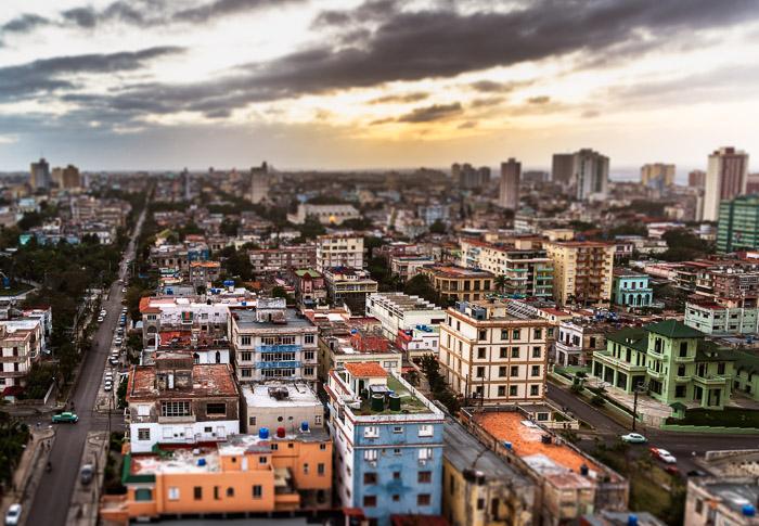 Tilt-shift blur effect added to image of Havana, Cuba. Photo by Jenn Mishra