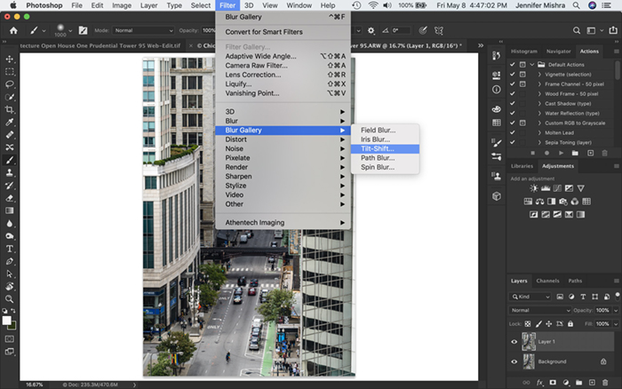 Screenshot of Photoshop workspace. Shows how to navigate to Tilt-Shift blur filter.