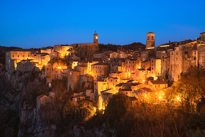 Cityscape photography of Tuscany, Sorano medieval village in blue hour.