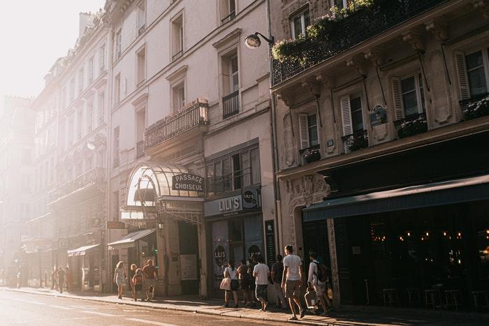 A busy urban street scene