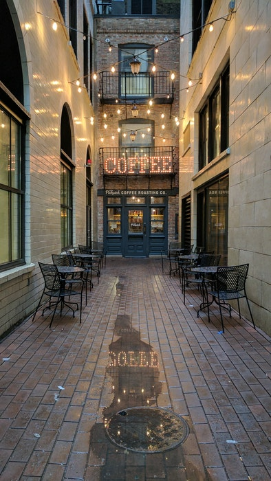 Outdoor coffee shop seating