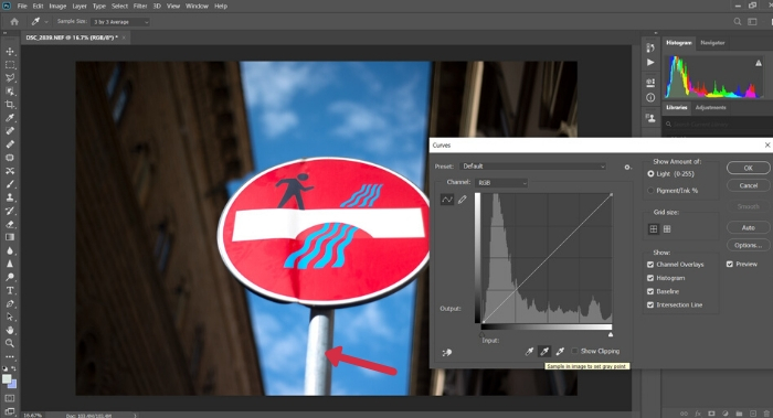 A screenshot of setting the grey point in Photoshop
