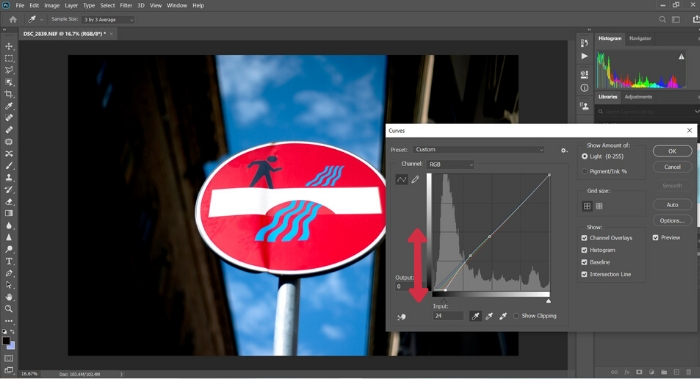 A screenshot of correcting white balance in Photoshop
