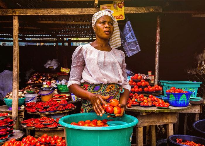 Candid shot of a fruit vendor