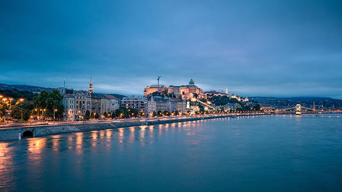 Coastal town at evening time