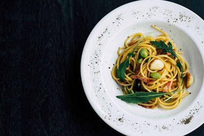 photo of a plate of spaghetti