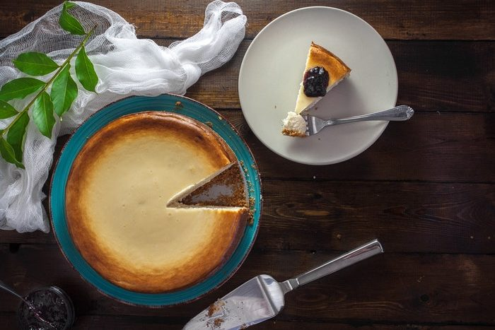 Flat lay photo of a delicious baked cheese cake