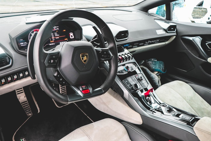 Photo of the inside of a luxury car