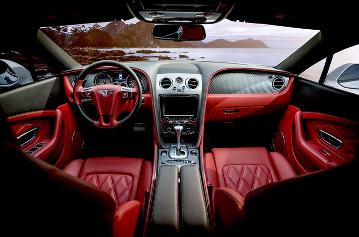 Inside of a sports car