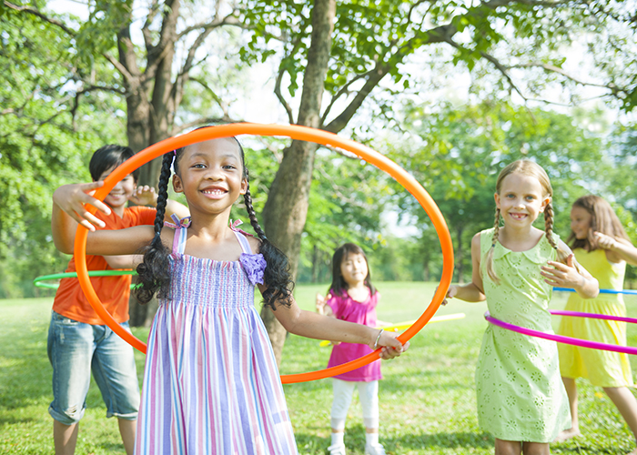 Children playing in a park.