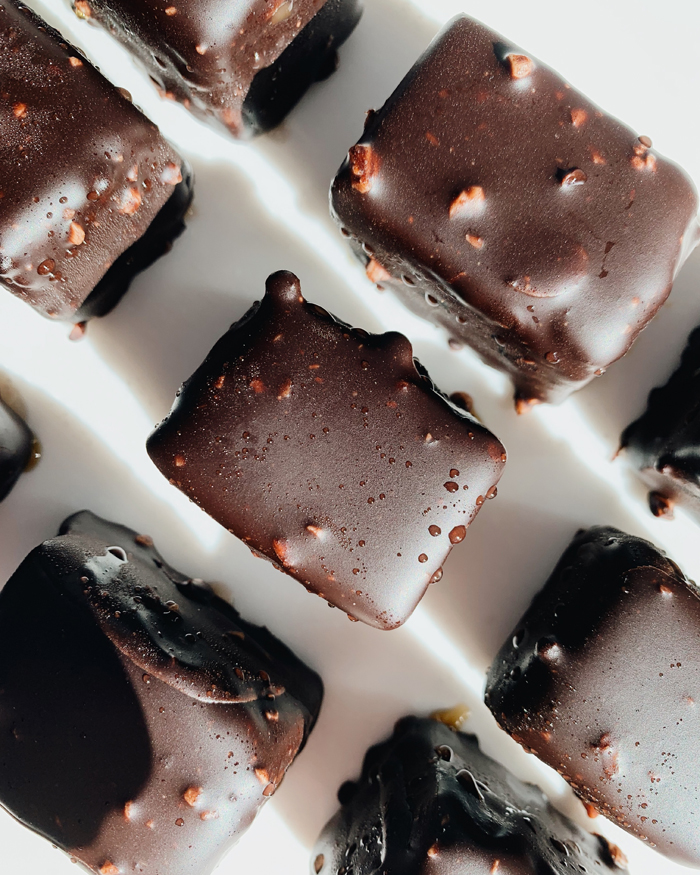 Overhead view of squares of chocolate