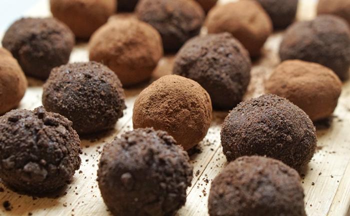 Rows of chocolate truffles