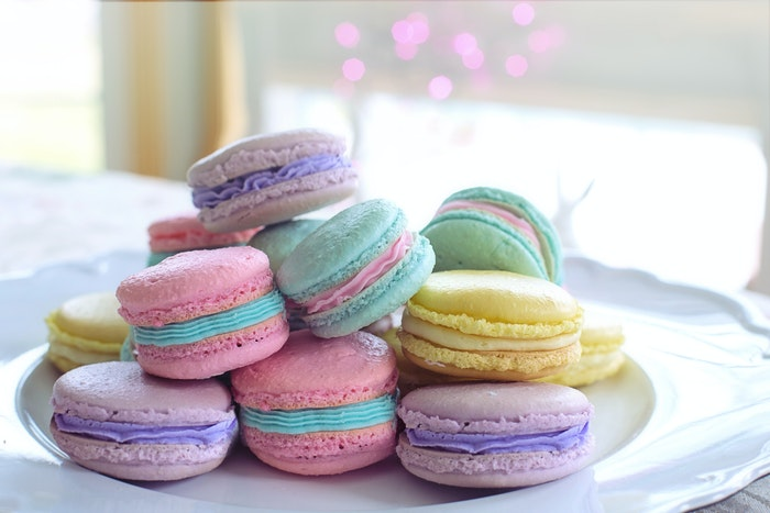 A plate of pastel colored macaroons