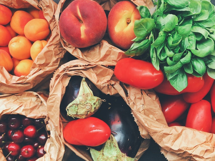 Grocery bags used as a DIY background for food photography