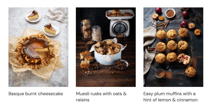 Screenshot of three recipes from Drizzle and Dip food blog