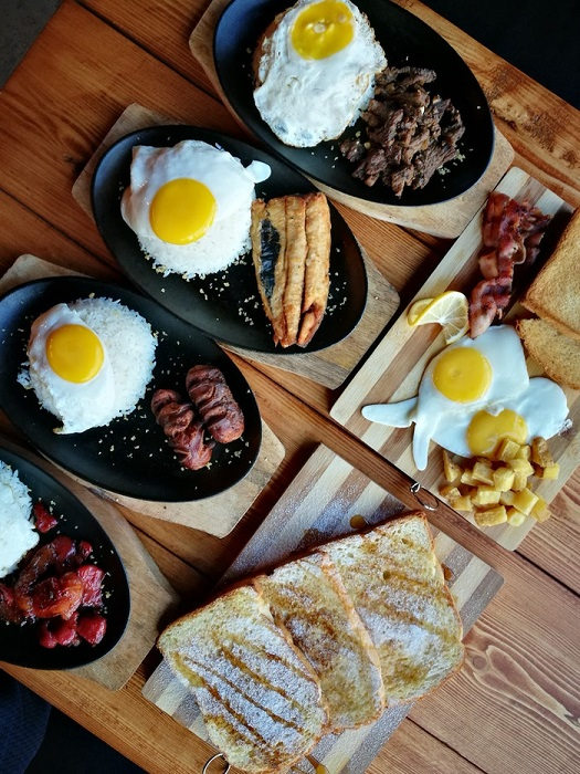 Overhead shot of plates of brunch