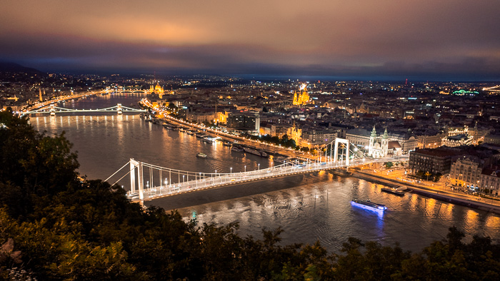 Aerial view of the Danube river in Budapest
