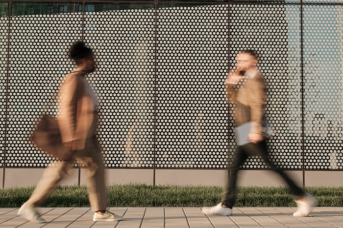 Street photography of blurred people