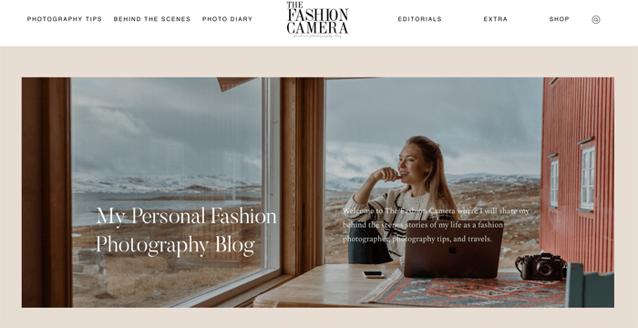 Screenshot of The Fashion Camera photography blog homepage