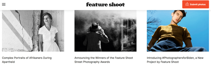 Screenshot of the Feature Shoot photography blog homepage