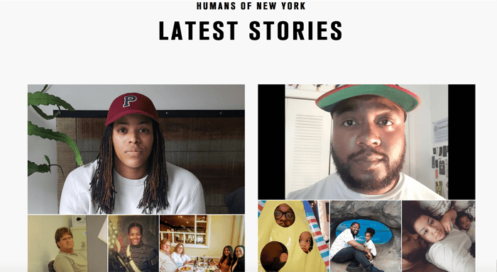Screenshot of the Humans of New York photography blog homepage